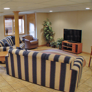A Finished Basement Living Room Area in Liverpool, Syracuse, Ithaca, Utica, NY